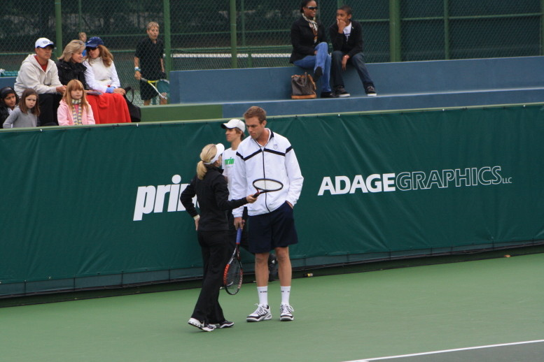Tracy Austin and Sam Querrey talking strategy at the Inagural Charity Challenge at the Manhattan Country Club